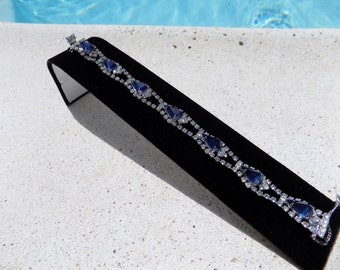 SALE!!!Weiss Bracelet with Blue Pear Shaped Rhinestones