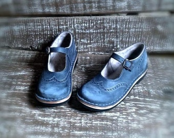 Leather maryjanes TEIDE in blu