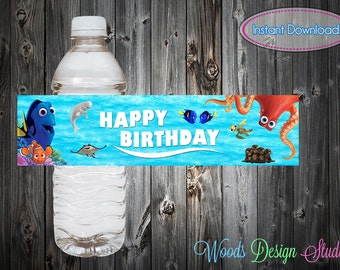 Custom //Personalized // Finding Dory Party Water Bottle Labels // Wraps // Digital File