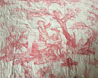Antique 18th C Toile de Jouy Quilted Pelmet