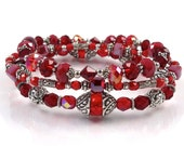 SALE - Stackable Ruby Red Stretch Bracelets - Set of Three Stretch Bracelets