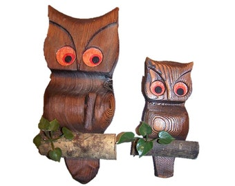 Vintage 70u0027s Retro Wood Owl Wall Hanging Wall House Outdoor Decor  Housewares Wooden Owls Owls on Branches Owl Wall