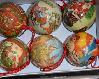 Vintage Victorian Style Decoupage Christmas Ornaments - Set of 6 - In Original Box - Paper Mache - Unbreakable - 6 Different Designs