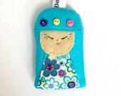 Doll Keyring / Bag Charm - Japanese Kokeshi Doll - handmade Momiji Doll keyfob - novelty doll stocking filler