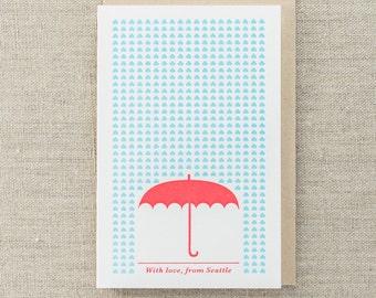 With Love, Umbrella Letterpress Greeting Card