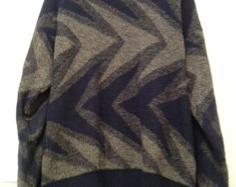 Vintage 80s Navy&Tan Wavey Sweater