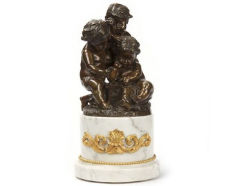 Antique Paul Machault French Bronze Sculpture, Game of Dice, 19th Century