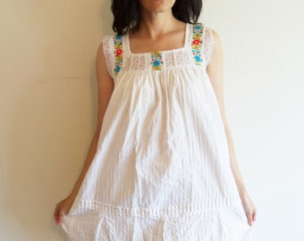 White Embroidered Mexican Summer Semi Sheer Tent Dress