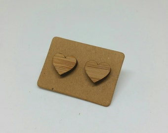 Lovely bamboo heart earrings with sterling posts