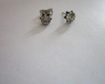Vintage Faux Diamond Post Pierced Earrings Silver Tone