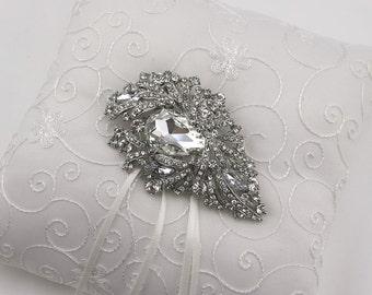 Rhinestone Ring Bearer Pillow , Ring Bearer Pillow , Ivory or White Ring Bearer Pillow , Wedding Pillow