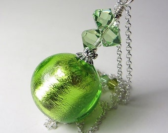 LARGE Genuine Murano Glass Necklace Peridot Necklace 925 Sterling Silver Foil Authentic Venetian Glass Necklace Green Necklace Gift for Her