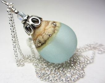 Artisan Lampwork Necklace Sea Glass Necklace Frosted Seafoam Teardrop Sea Drop Wave Pendant Seaglass Ocean Wave Necklace Beach Necklace Gift