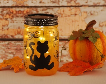 Halloween lighted jar, hand painted, black cat and spiders, orange and black