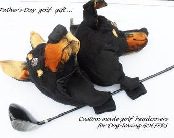 GOLF club  head cover ,Custom Dog portrait Doberman , golf accessories ,Father's day  GOLF GIFT