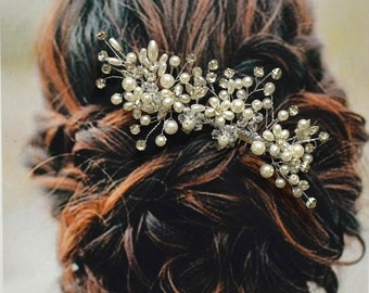 Versailles Bridal Hair Comb, Wedding Hair Comb, Pearl and Crystal Hair Comb, Wedding Hair Accessories, Floral Bridal Headpiece
