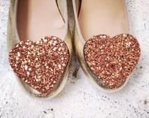 Copper Shoe Clips Glitter Hearts, Big Bronze Glitter Shoeclips, Party Glitter Accessory, Rose Gold Wedding
