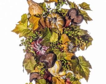Gourds Berries Mushrooms Wreath/Swag/Centerpiece - FW922 - Size 28x16x6