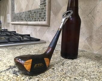 Vintage & Unique FTD First Flight Golf Club Bottle Opener – Wood