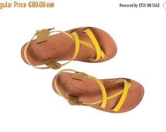 50% OFF Classic Leather Sandals, Yellow Sandals,  A classic Greek leather sandal handmade in a pop of on trend yellow!