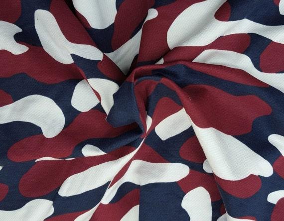 Camouflage Print Cotton Fleece Fabric By The Yard Burgundy