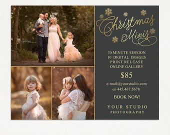 Christmas Mini Session Template - Photography Marketing Board - Christmas Minis - Photoshop Template 024 - ID267, Instant Download