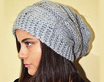 Slouchy cable style beanie hat - PEARL Gray (Or Choose Color) - Paypal FREE SHIPPING -  womens chunky - accessories - baggy slouch