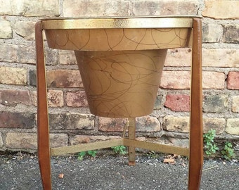 Mid Century Atomic Tripod Wood Stand Bullet Planter Gold Drizzle