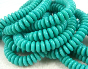 Czech Beads, 6x2mm Rondelle, Czech Glass Beads - Opaque Turquoise Spacer Bead - Mini Rondelle (RD6/RJ-2683) - Qty. 50
