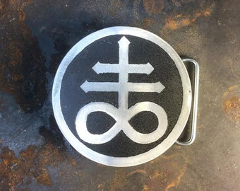 Leviathan, Aluminum Belt Buckle, Custom Made, Etched Metal, Made In USA, Demon, Demigod, Satan, Pagan, Occult, Sulphur, Element