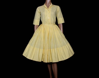 Vintage 1950s Dress// Yellow Outfit //Shirtwaist// Checked Pattern// Rockabilly//Joan Cleaver// Swing Jive //Designer