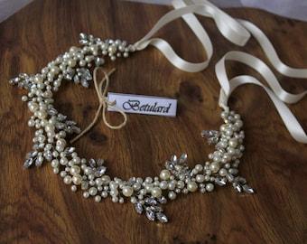 Ivory Pearl Swarovski Bridal Hair Vine Headband