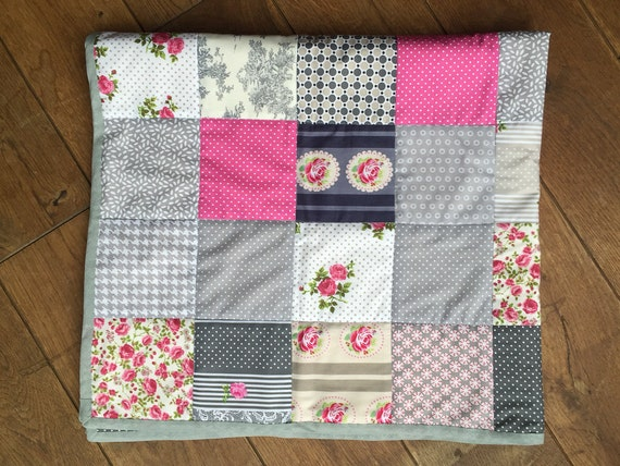 Delicate French Prints in Shades of Pink and Silver Patchwork Handmade Baby Quilt / Blanket / Play Mat