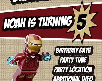 Lego Iron Man invitation, Lego Avengers custom invitation