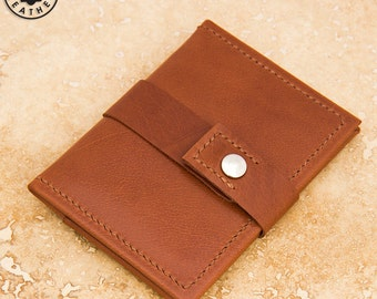 Leather ID/travel card holder (chestnut buffalo calf)