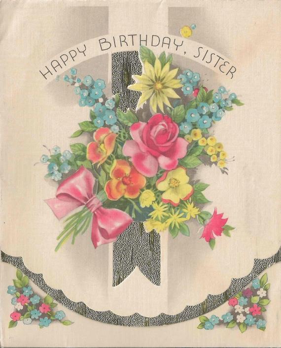 Vintage Happy Birthday Sister Card Circa 1920 By