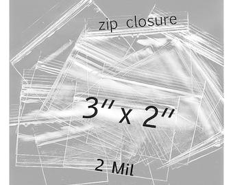 100 - 3 x 2 inch Clear Zip Closure Bags - 2 mil  Polypropylene bags - small item zip lock packaging