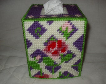 Roses and Rosebuds Tissue Box Cover Plastic Canvas Needlepoint