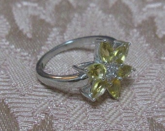 Multi Citrine Sterling Silver Ring Size 7