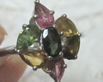 Multi Tourmaline Sterling Silver Ring Size 7