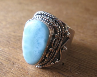 Larimar Sterling Silver Ring Size 10