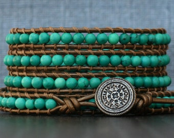 natural turquoise bracelet- blue green turquoise on bronze leather wrap bracelet- beaded - bohemian western jewelry