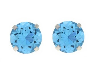 Blue Topaz Round Stud Earrings .925 Sterling Silver