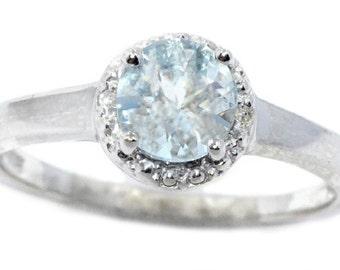 1 Ct Genuine Aquamarine & Diamond Round Ring .925 Sterling Silver Rhodium Finish