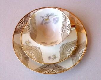 Teacup And Saucer , Winterling Marktleuthen , Bavaria ,Midcentury Porcelain Trio , Teaset