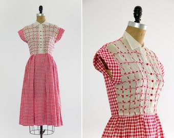 vintage 1930s day dress | red gingham dress | 1930s dress small xs