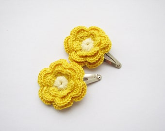 Yellow hair clips, Crochet flowers, set of 2, Girls hair accessories