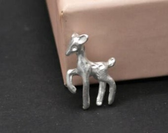 12 pcs of  deer charm no loop for glass bottle charms-15x20mm-1177-matte silver-no loop