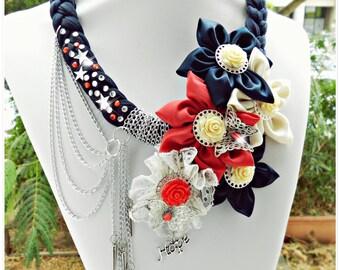 Flower necklace - Statement necklace - Textile necklace