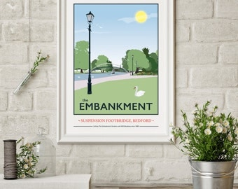 The Embankment Suspension Bridge, Bedford Giclee Print